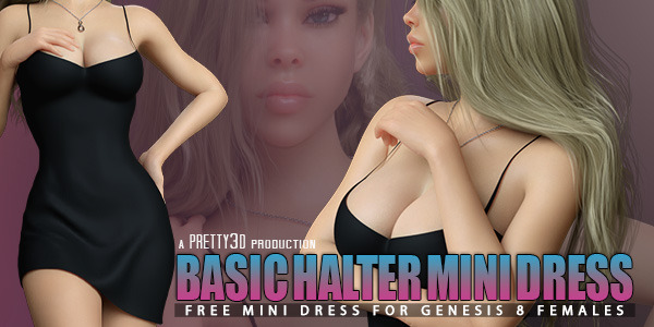 Basic Halter Mini Dress for Genesis 8 Females