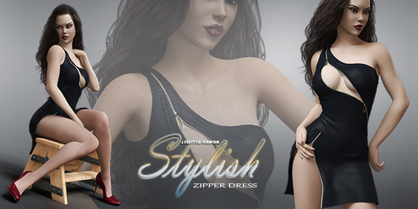 Stylish Zipper Dress for Genesis 8 Females by Pretty3D