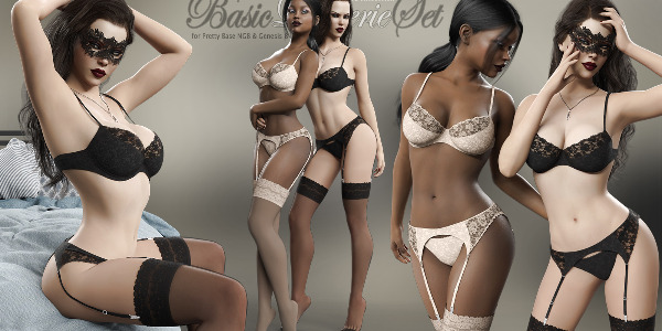 Basic Lingerie Set for Genesis 8 Females by Pretty3D