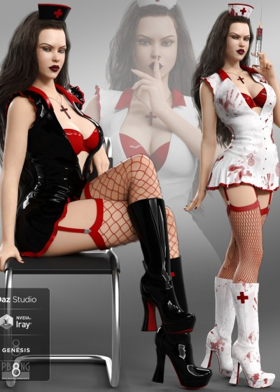 Bloody Nurse Fantasy Costume Set for Genesis 8 Females(s)